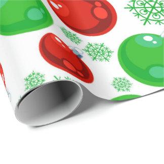 Papier Cadeau Enveloppe verte rouge de motif d'ampoule de Noël