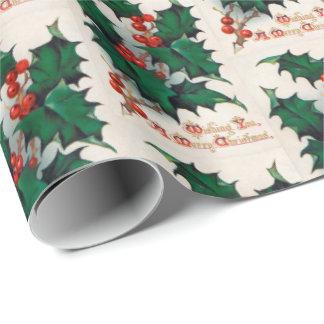Papier Cadeau Enveloppe vintage de fête de Noël de baie de houx