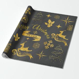 Papier Cadeau Enveloppe vintage personnalisée de Noël de tableau