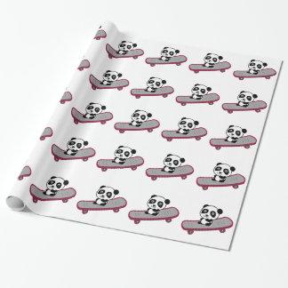 Papier Cadeau Équitation de panda sur la planche à roulettes