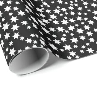 Papier Cadeau Étoiles aléatoires de blanc sur le noir