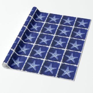 Papier Cadeau étoiles de mer bleues nautiques rustiques de plage