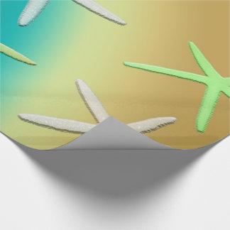 Papier Cadeau Étoiles de mer jaunes blanches de chaux
