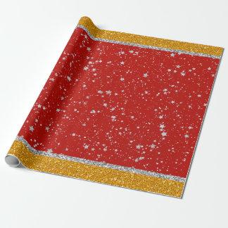 Papier Cadeau Étoiles de parties scintillantes - rouge argenté