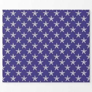 Papier Cadeau étoiles du patriote 3D sur le bleu