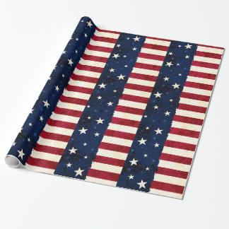 Papier Cadeau Étoiles et motif patriotique de rayures