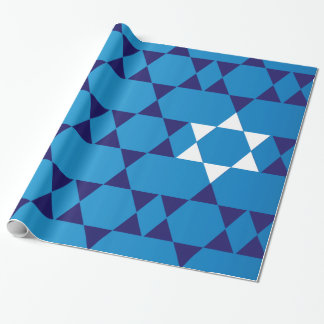 Papier Cadeau Étoiles juives bleues géantes