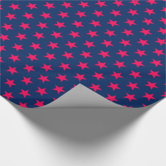 Papier Cadeau Étoiles lumineuses de rose sur le bleu marine