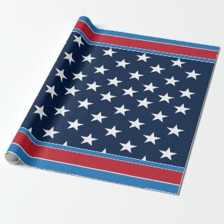 Papier Cadeau Étoiles patriotiques et barres des Etats-Unis de