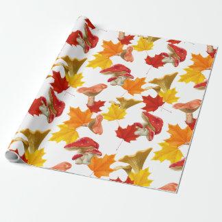 Papier Cadeau Feuille et champignons d'automne colorés