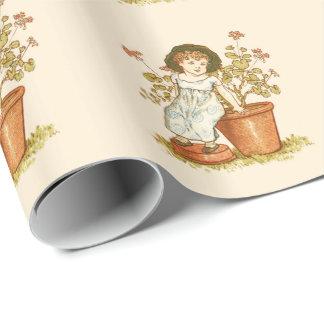 Papier Cadeau FILLE de jardinage MIGNONNE VINTAGE S'ASSEYANT