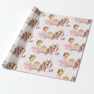 Papier Cadeau Fille royale de princesse Castle Carriage Pink