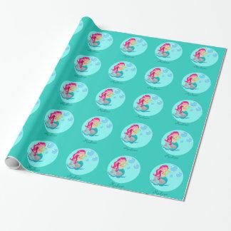 Papier Cadeau Fille turquoise mignonne faite sur commande de