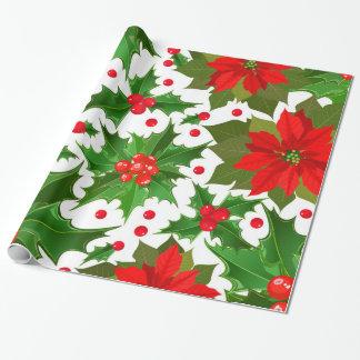 Papier Cadeau Fleur de poinsettia et houx rouges de fête de Noël