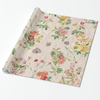Papier Cadeau Fleur sauvage de mariage rose romantique floral