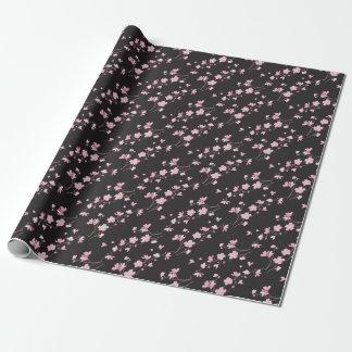 Papier Cadeau Fleurs de cerisier - noir