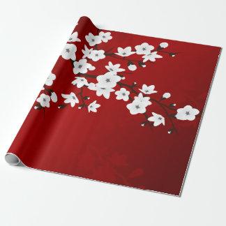Papier Cadeau Fleurs de cerisier noires et blanches rouges