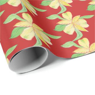 Papier Cadeau fleurs jaunes
