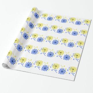 Papier Cadeau Fleurs lumineuses, bleues et jaunes, enveloppe de