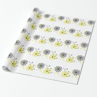 Papier Cadeau Fleurs lumineuses, jaunes et grises, enveloppe de