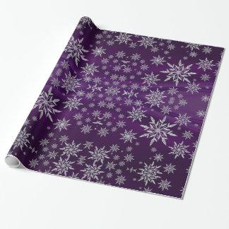 Papier Cadeau Flocons de neige argentés scintillants sur le