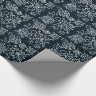 Papier Cadeau Flocons de neige de papier (motif de minuit de
