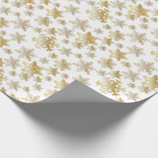 Papier Cadeau Flocons de neige d'or avec l'ombre de baisse -