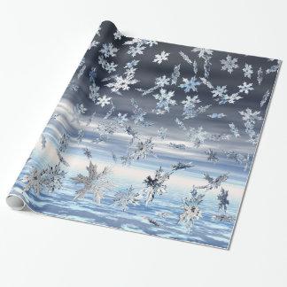 Papier Cadeau Flocons de neige en baisse métalliques reflétés
