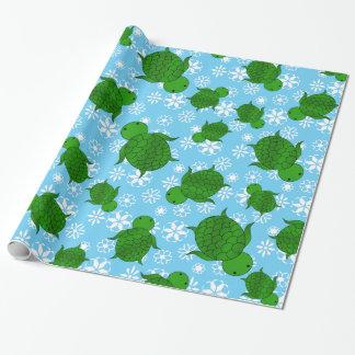 Papier Cadeau Flocons de neige mignons de bleu de Noël de tortue