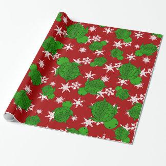 Papier Cadeau Flocons de neige mignons de rouge de tortue