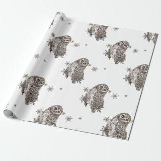 Papier Cadeau Flocons de neige noirs et blancs d'hiver de hibou