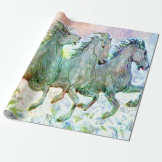 Papier Cadeau Fonctionnement en pastel de chevaux sauvages