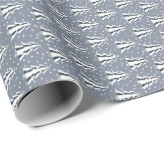 Papier Cadeau Forêt d'hiver en papier d'emballage gris-clair et