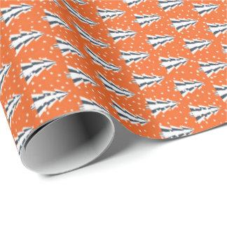 Papier Cadeau Forêt d'hiver papier de cadeau orange et mat