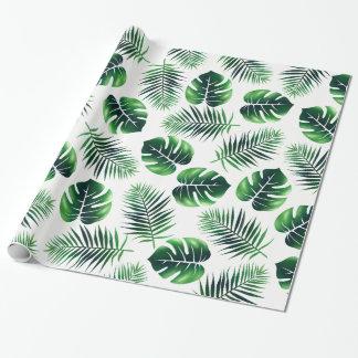 Papier Cadeau Frondes de paume d'île et feuille tropicales