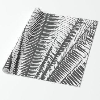 Papier Cadeau Frondes tropicales modernes noires et blanches de