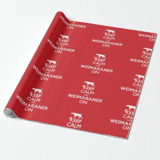 Papier Cadeau GARDEZ le papier d'emballage CALME de WEIMARANER