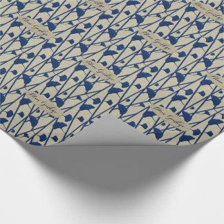 Papier Cadeau ginkgo bleu
