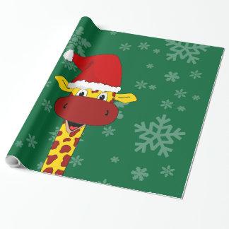 Papier Cadeau Girafe et flocons de neige