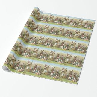 Papier Cadeau Gisement peint coloré d'oeufs de lapin de Pâques