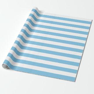 Papier Cadeau Grand papier d'emballage de rayures bleu-clair et