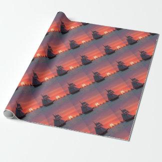 Papier Cadeau Grand voilier marchand dans le coucher du soleil