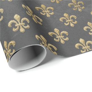 Papier Cadeau Graphite gris de Grungy Fleur De Lis Royal d'or