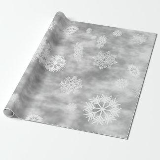 Papier Cadeau Gris argenté d'automne de flocons de neige