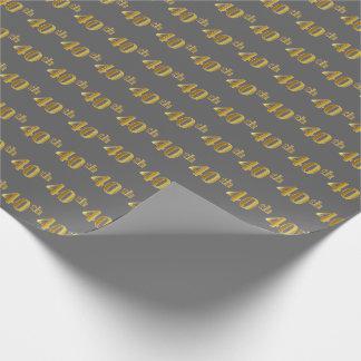 Papier Cadeau Gris, événement d'or quarantième de Faux