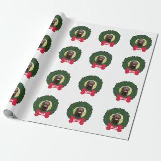 Papier Cadeau Guirlande de chien de Noël avec la coutume de nom