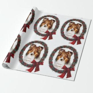 Papier Cadeau Guirlande de Noël de chien de berger de Shetland
