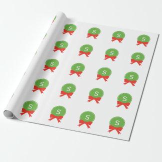 Papier Cadeau Guirlande rouge et verte personnalisable de