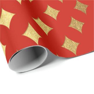 Papier Cadeau Héraldique rouge vif lumineux coupé par diamant