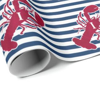Papier Cadeau Homard rouge nautique rayure bleue et blanche | I
